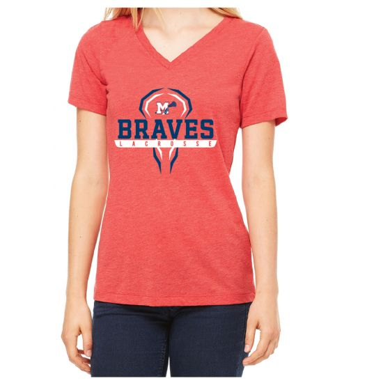 Manalapan HS Lacrosse Womens Triblend SS V-Neck - Red Triblend