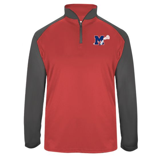 Manalapan HS Lacrosse Mens Training 1/4 Zip - Red/Graphite