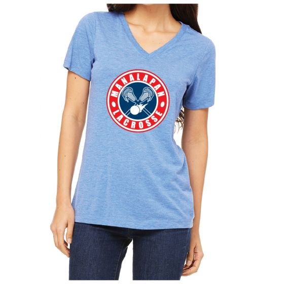 Manalapan Youth Lacrosse Womens Triblend SS V-Neck - Blue Triblend