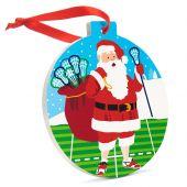 Lacrosse Round Santa Ornament