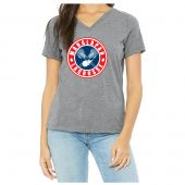 Manalapan Youth Lacrosse Womens Triblend SS V-Neck - Grey Triblend