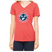 Manalapan Youth Lacrosse Womens Triblend SS V-Neck - Red Triblend